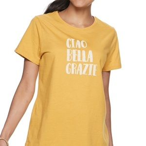 SONOMA TEE XXL Yellow Gold Italian Graphic NWT 💛